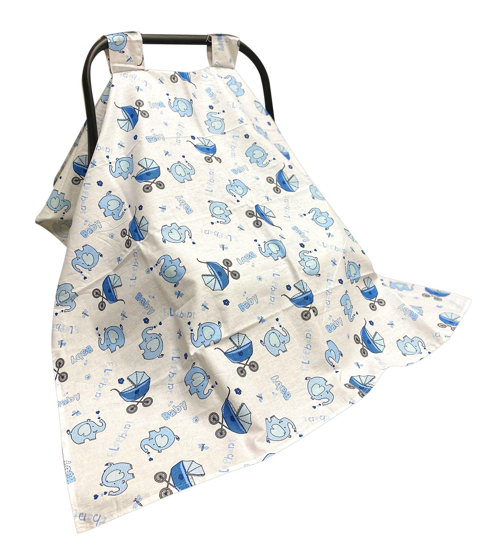 AyBaby AY729 Desenli Puset Örtüsü - Mavi Fil