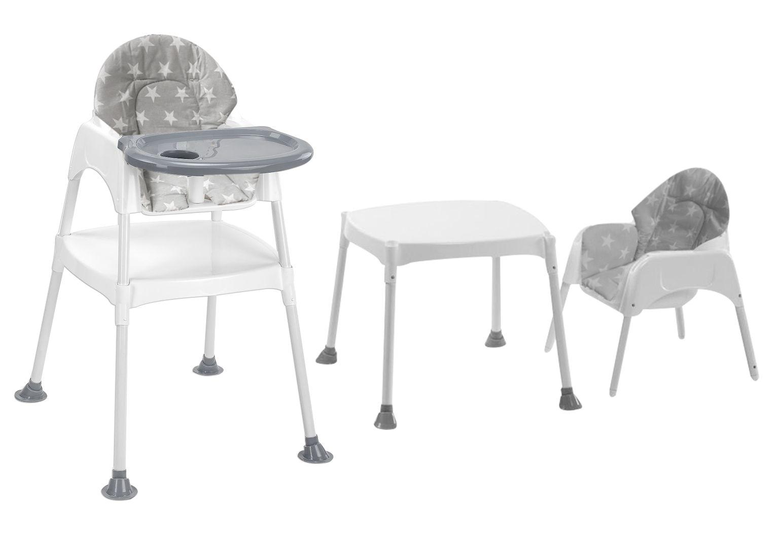 Moje Boom Çalışma Masalı Portatif Mama Sandalyesi - Gri Yıldız