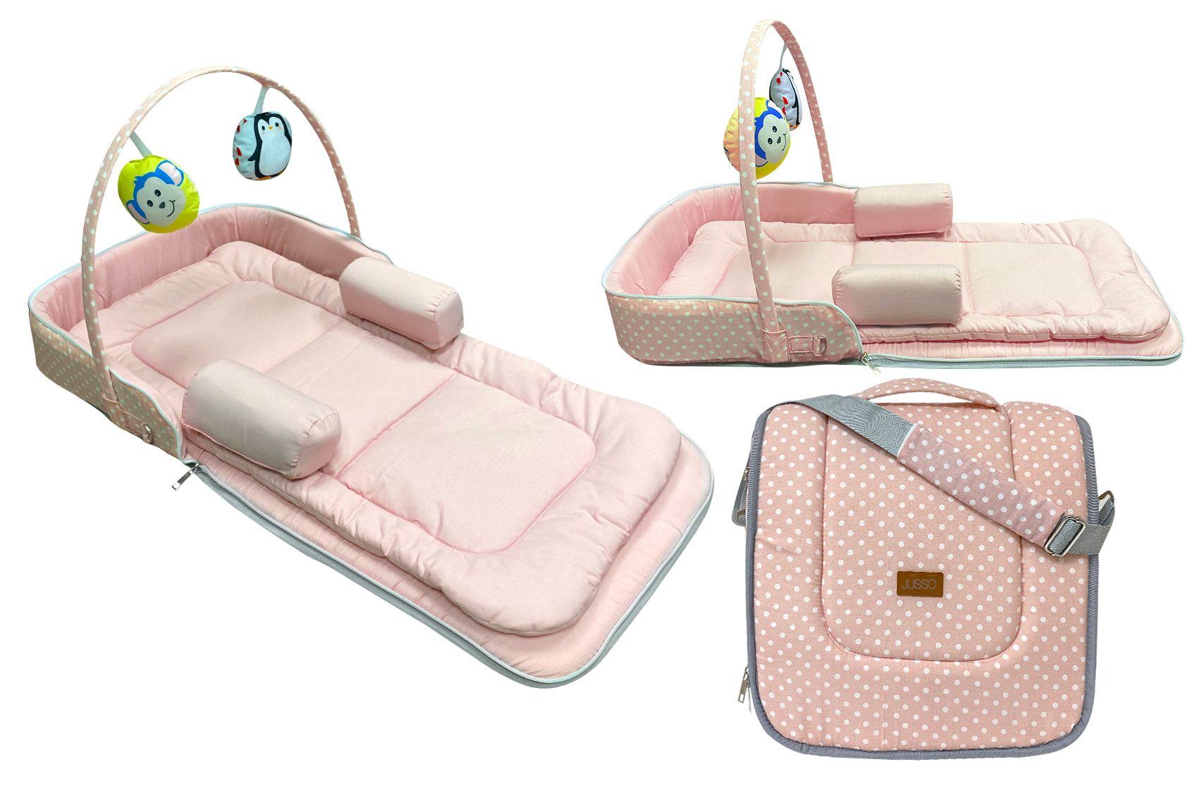 Jusso Çok Amaçlı Portatif Bebek Yatağı 75x40 Cm - Pembe
