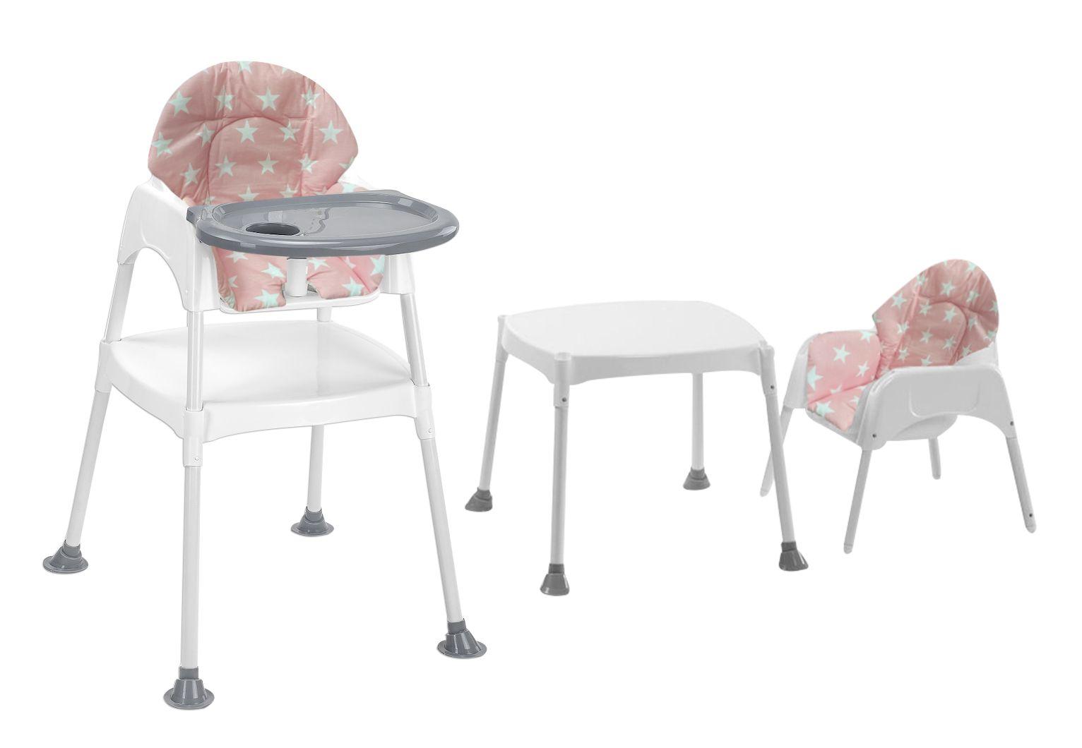 Moje Boom Çalışma Masalı Portatif Mama Sandalyesi - Gri Pembe Yıldız